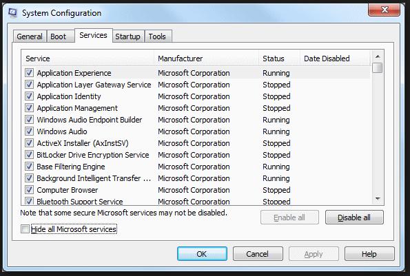 MSCONFIG-speeding up Windows 7