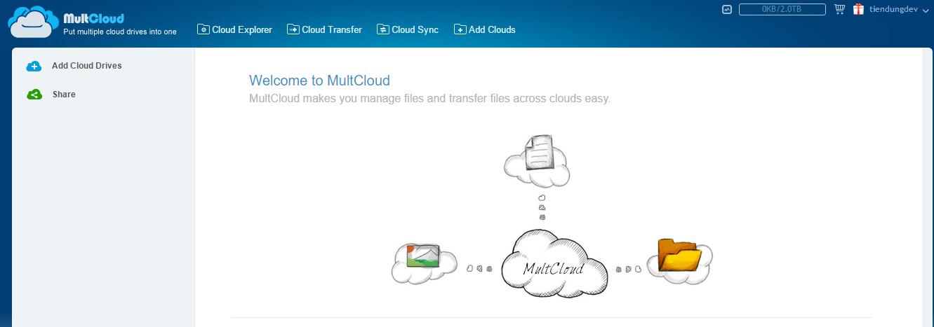 Đồng bộ dung lượng nhiều tài khoản cloud lại với nhau 1