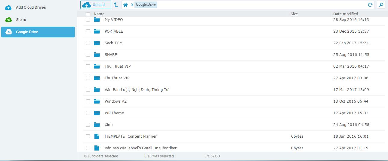 Đồng bộ dung lượng nhiều tài khoản cloud lại với nhau