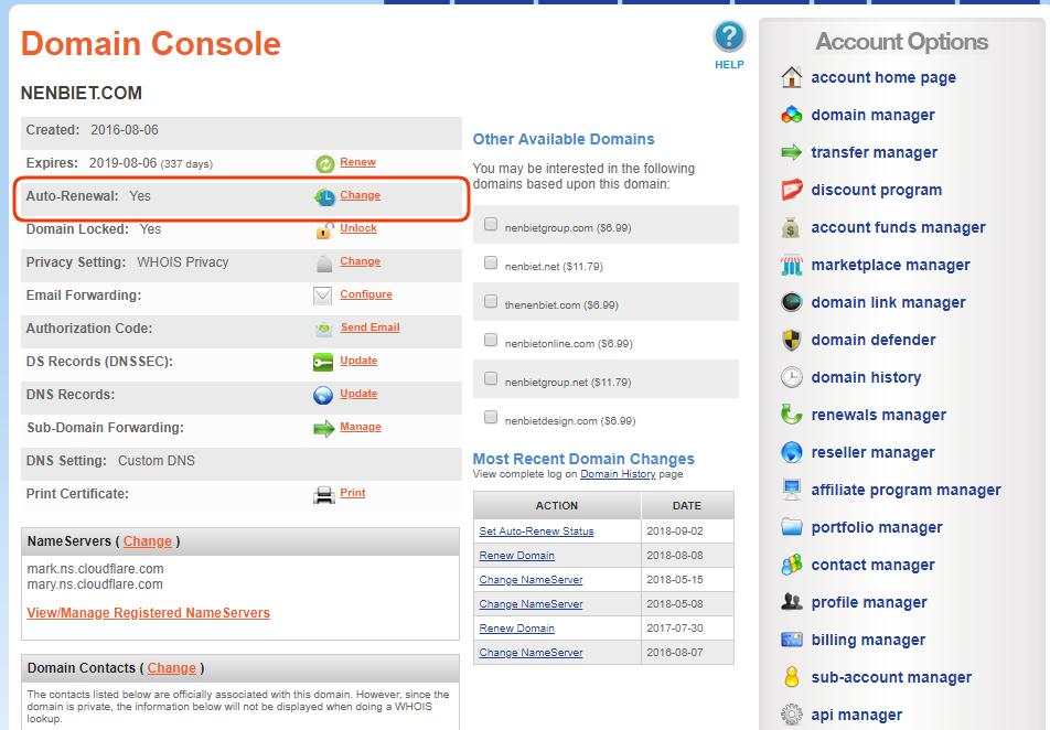 Hướng dẫn gia hạn tên miền (renew domain) trên Namesilo 1