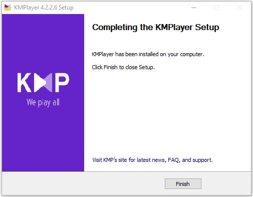 cài đặt thành công KMPlayer