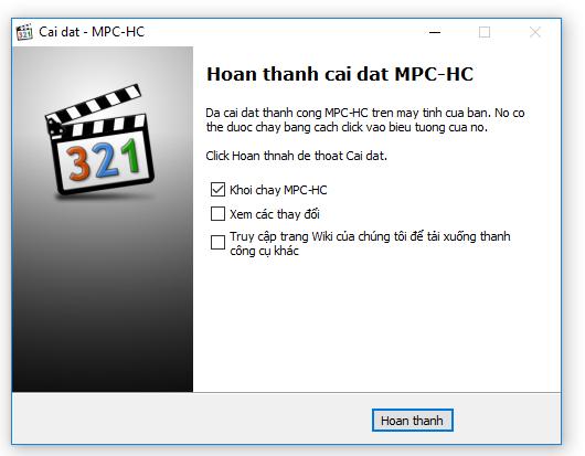 Cài đặt thành công MPC-HC