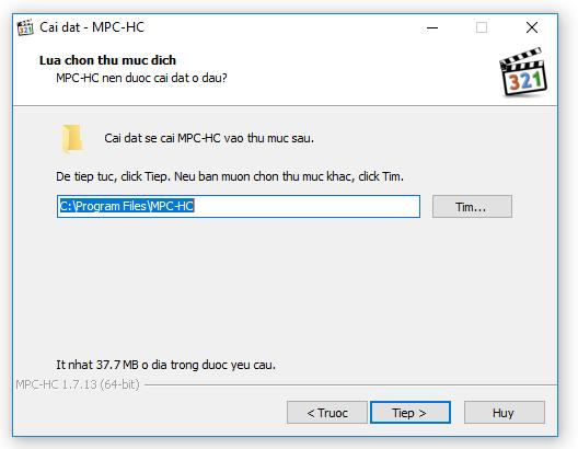 Chọn thư mục cài đặt MPC-HC