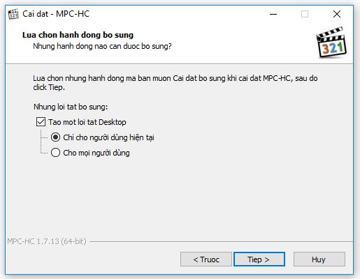Tiếp tục cài đặt MPC-HC