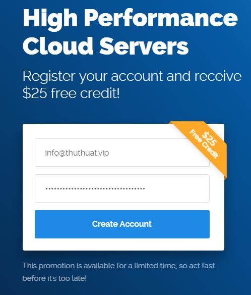 Nhận miễn phí 25$ từ Vultr