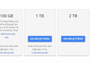 Hướng dẫn cách thức nâng cấp tài khoản Google Drive lên 100GB
