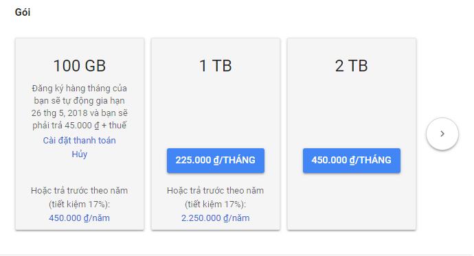 Nâng cấp tài khoản Google Drive lên 100GB