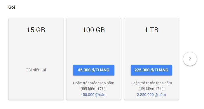Nâng cấp tài khoản Google Drive