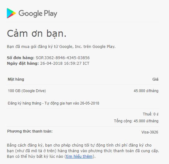 Thanh toán google drive