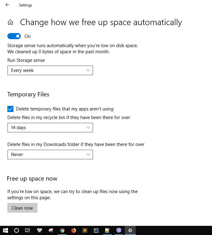 Tự động xóa rác trên Windows 10