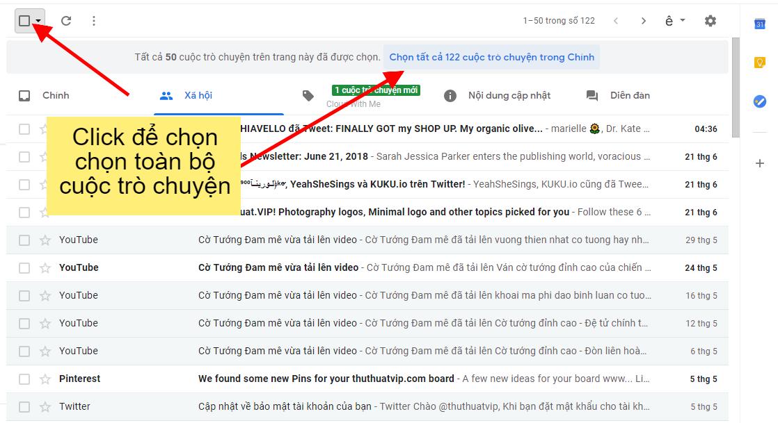 xóa toàn bộ cuộc trò chuyên gmail