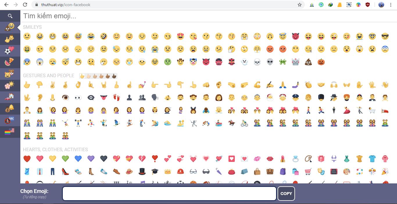 Biểu tượng để chèn vào facebook