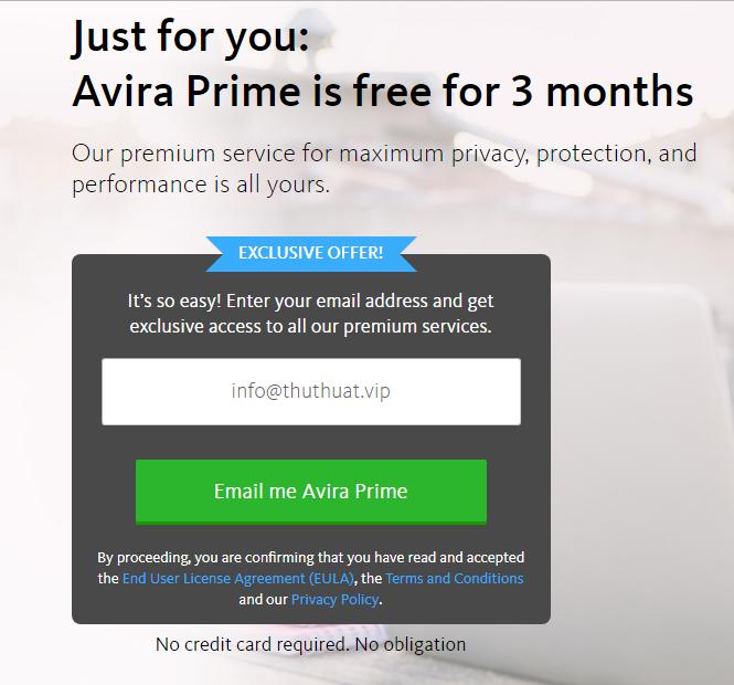 3 tháng miễn phí phần mềm Avira Prime
