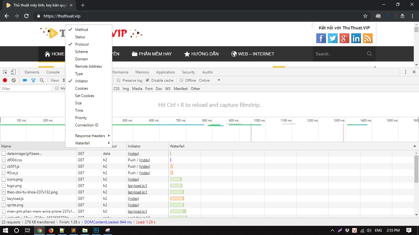 Phân tích tốc độ website với Chrome