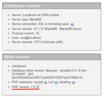 Phiên bản php đang sử dụng phpmyadmin