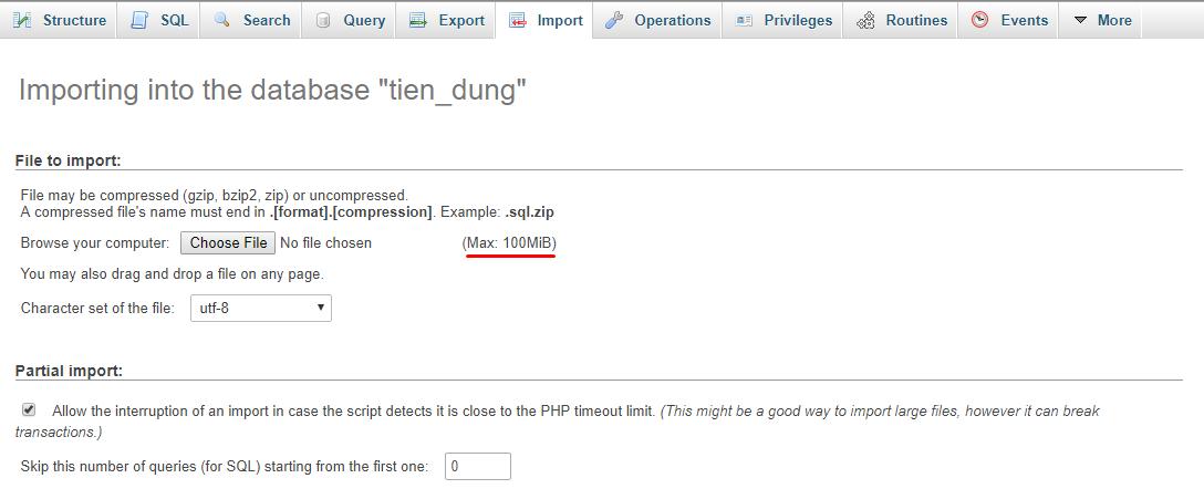 Tăng giới hạn import phpmyadmin