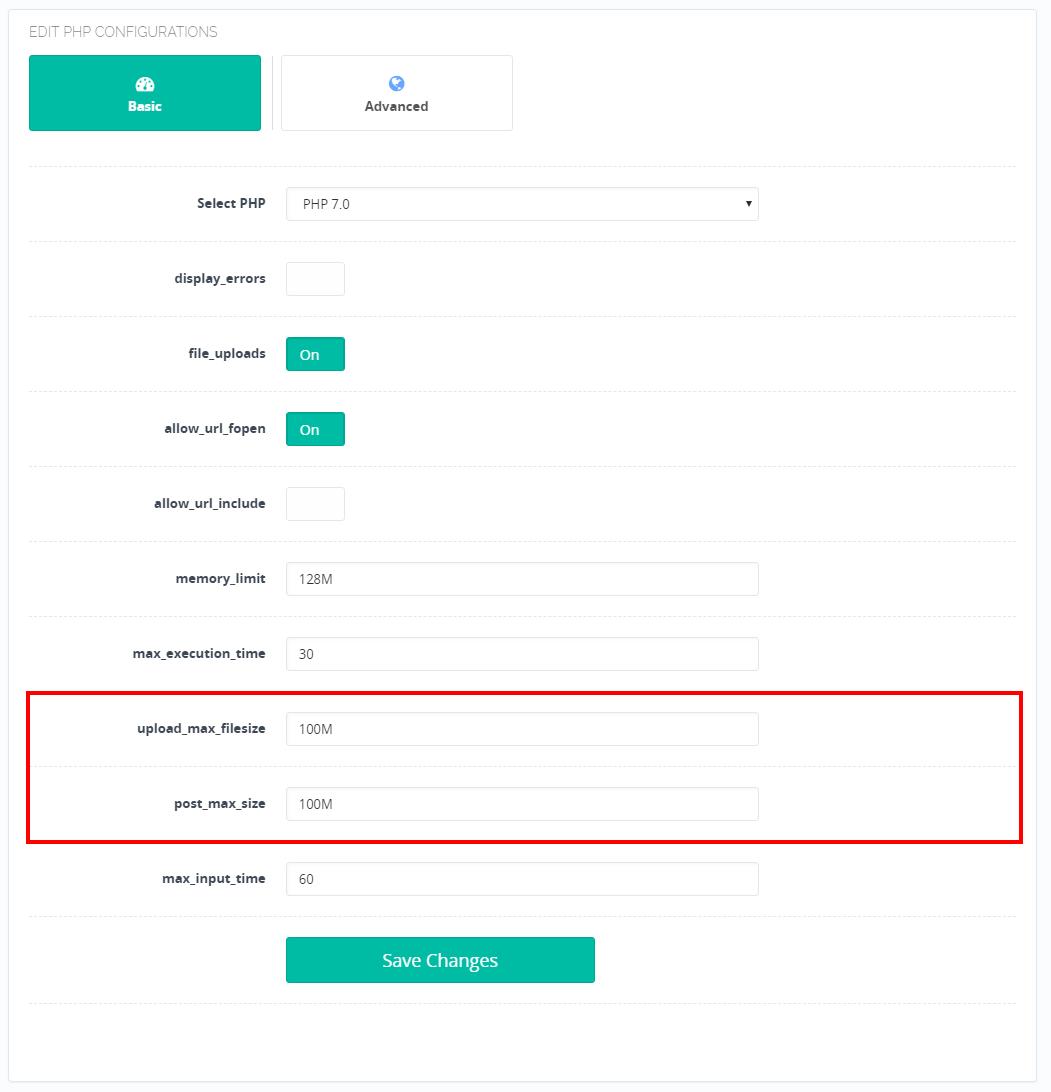Thay đổi giá trị max upload phpmyadmin