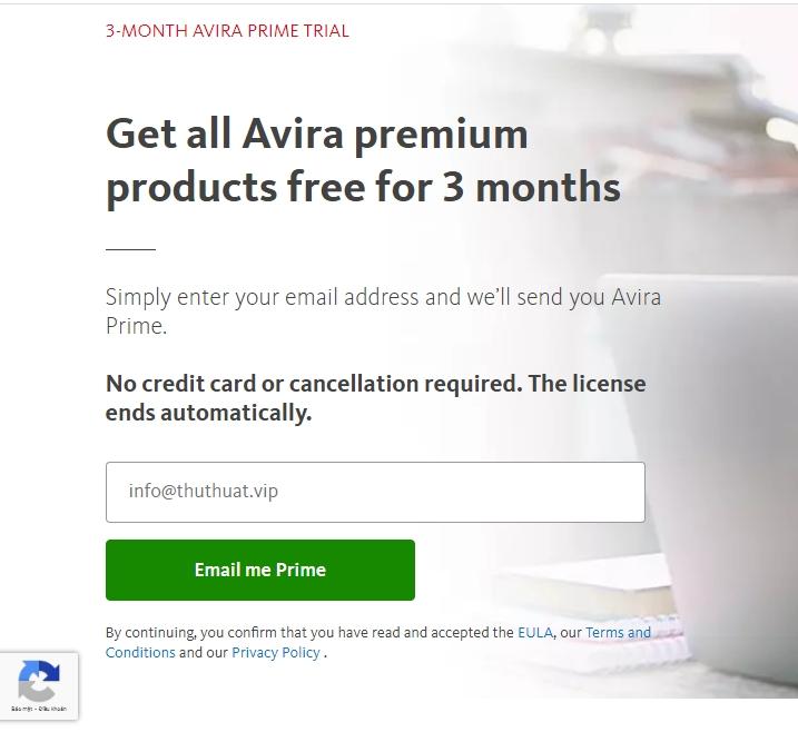 Miễn Phí 3 Tháng Avira Premium
