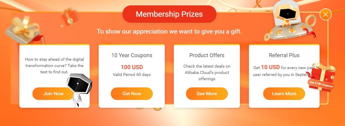 Alibaba cloud tặng 100$