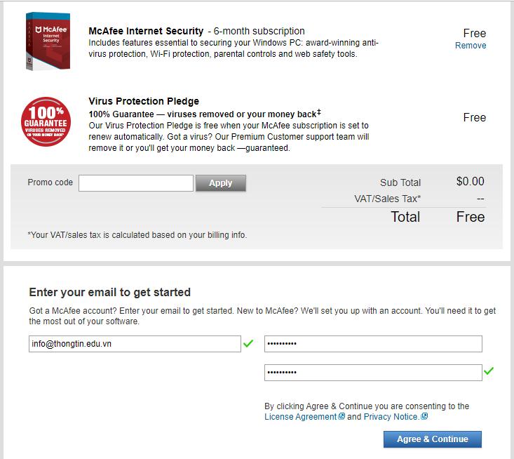 Miễn phí mcafee internet security