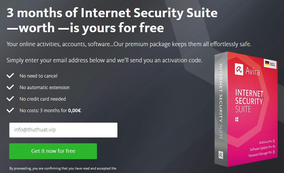 Miễn Phí Phần Mềm Avira Internet Security Suite