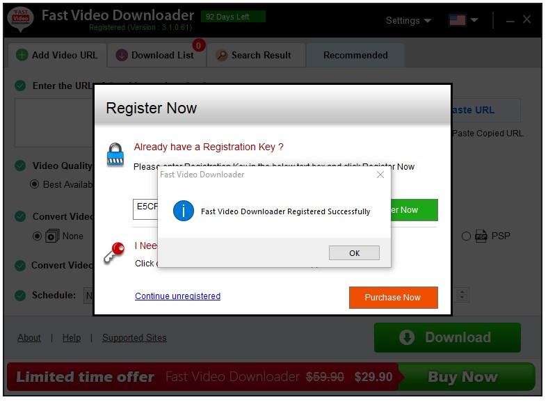 Kích Hoạt Thành Công Fast Video Downloader