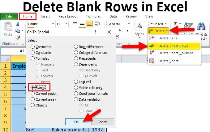 Hướng dẫn cách xóa các dòng trống trên Excel
