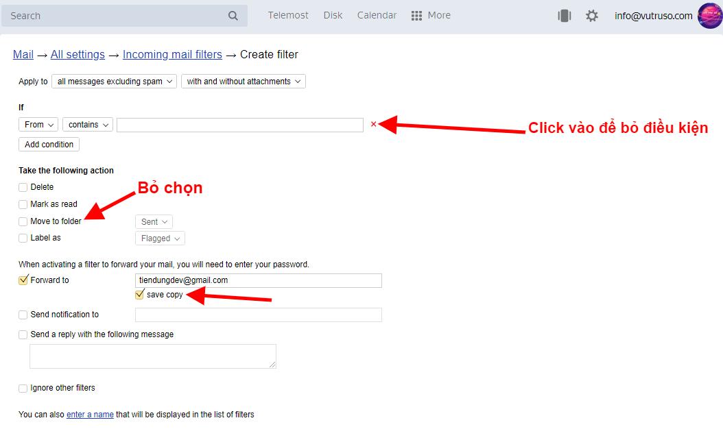Tạo Bộ Lọc Chuyển Tiếp Email Trong Yandex
