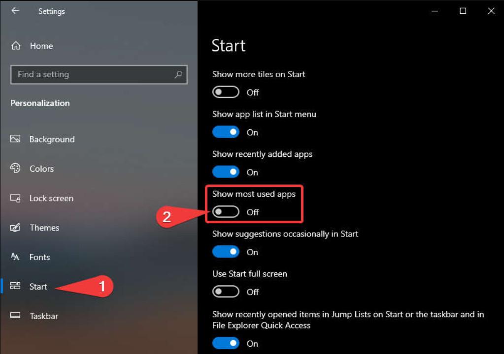Cách ẩn các ứng dụng sử dụng nhiều khỏi menu Start