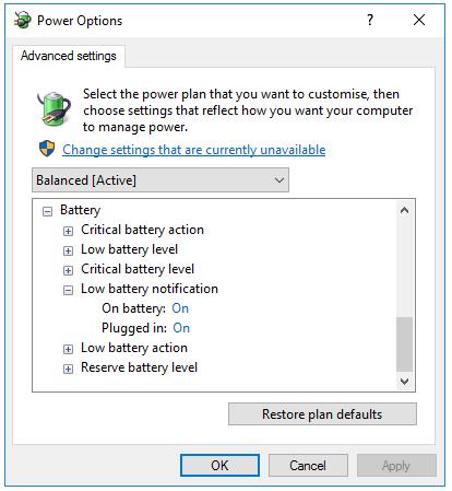 bat tinh nang low battery notification