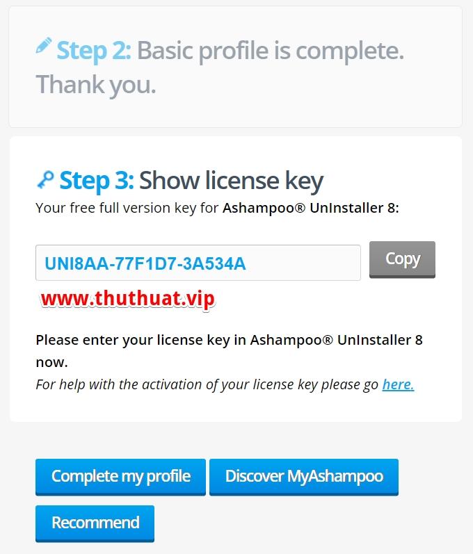 key phần mềm ashampoo® uninstaller 8