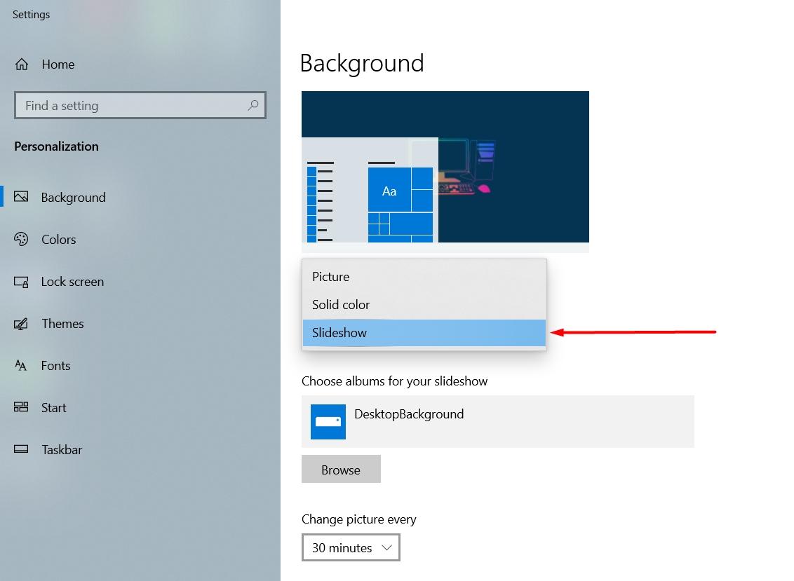 Cách thiết lập hình nền desktop chuyển đổi nhiều ảnh khác nhau
