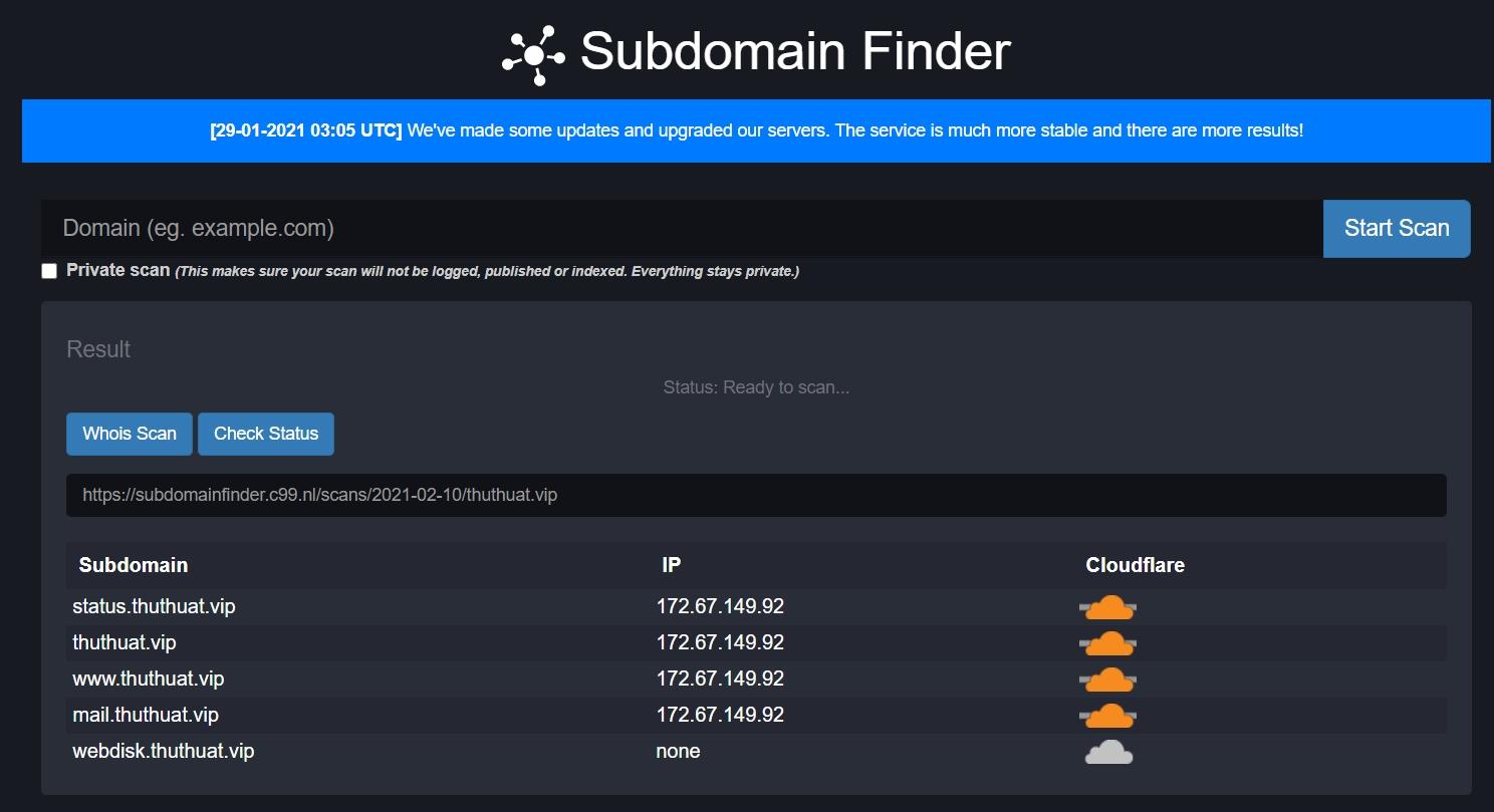 Cách tìm sub-domains của 1 tên miền bất kỳ