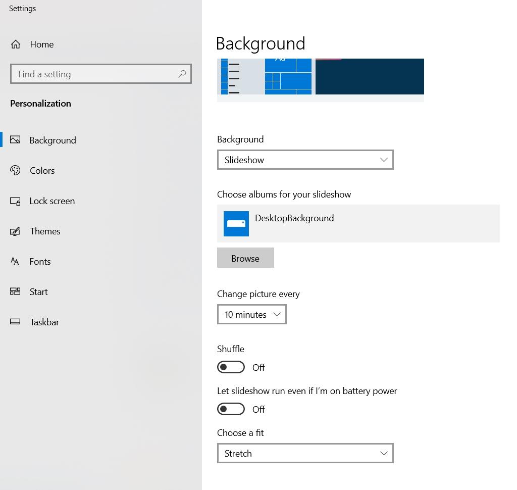 Thời Gian đổi Hình Nền Windows 10