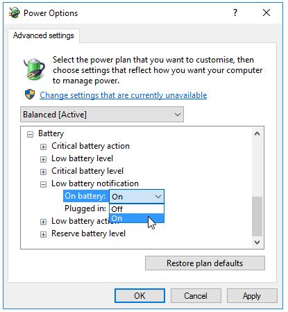 turn on low battery notification