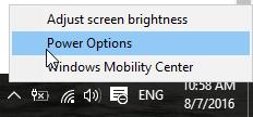 vao power setting taskbar