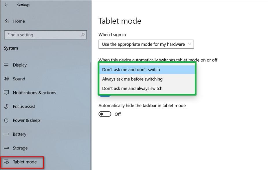 Windows 10 Tablet Mode 2