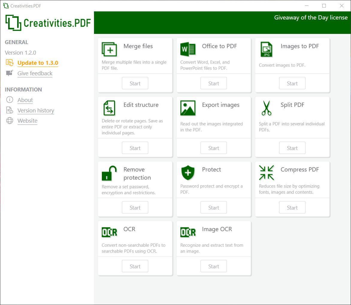Miễn phí công cụ Creatiilities.PDF 1.2.0 để chỉnh sửa các tệp PDF