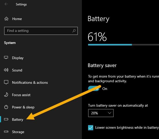 bat battery saver che do tiet kiem pin laptop win10 1