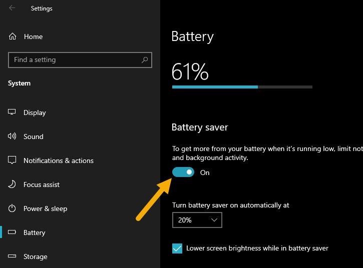 bat battery saver che do tiet kiem pin laptop win10 2