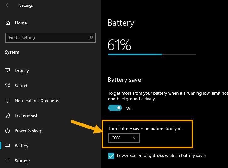 bat battery saver che do tiet kiem pin laptop win10 3