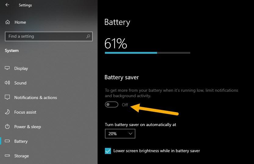bat battery saver che do tiet kiem pin laptop win10 5