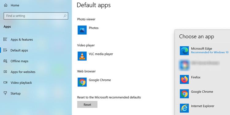 chrome default browser windows 10