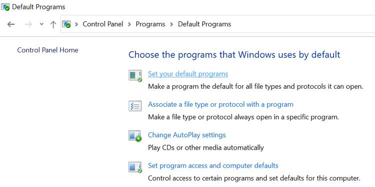 set default programs windows