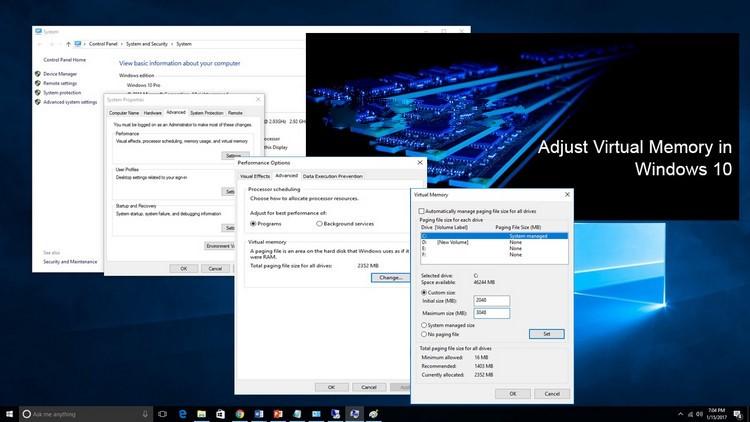 Cách tăng bộ nhớ ảo trên Windows 10