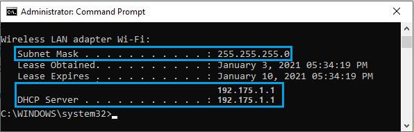 3 dhcp server subnet mask address