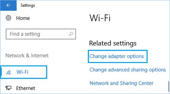4 change wifi network adaptor options windows 10