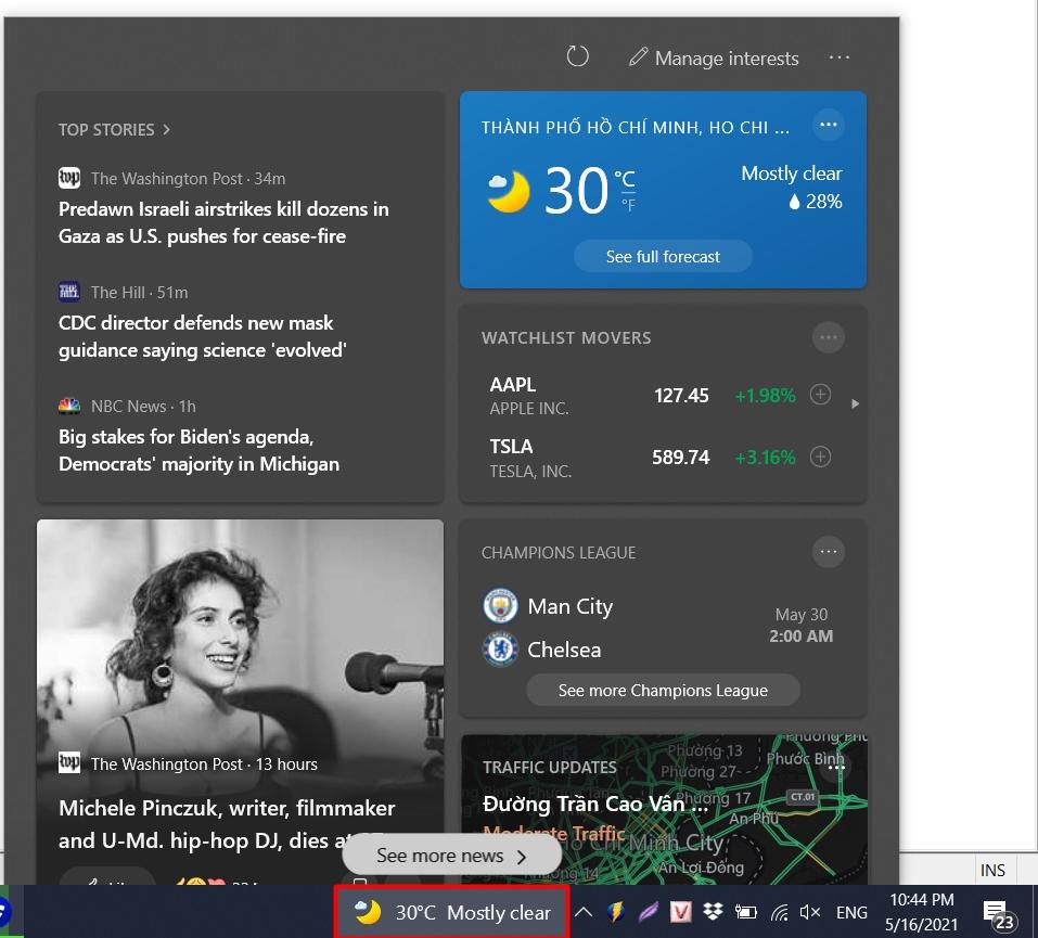 Cách tắt biểu tượng thời tiết trên Windows 10 20H2