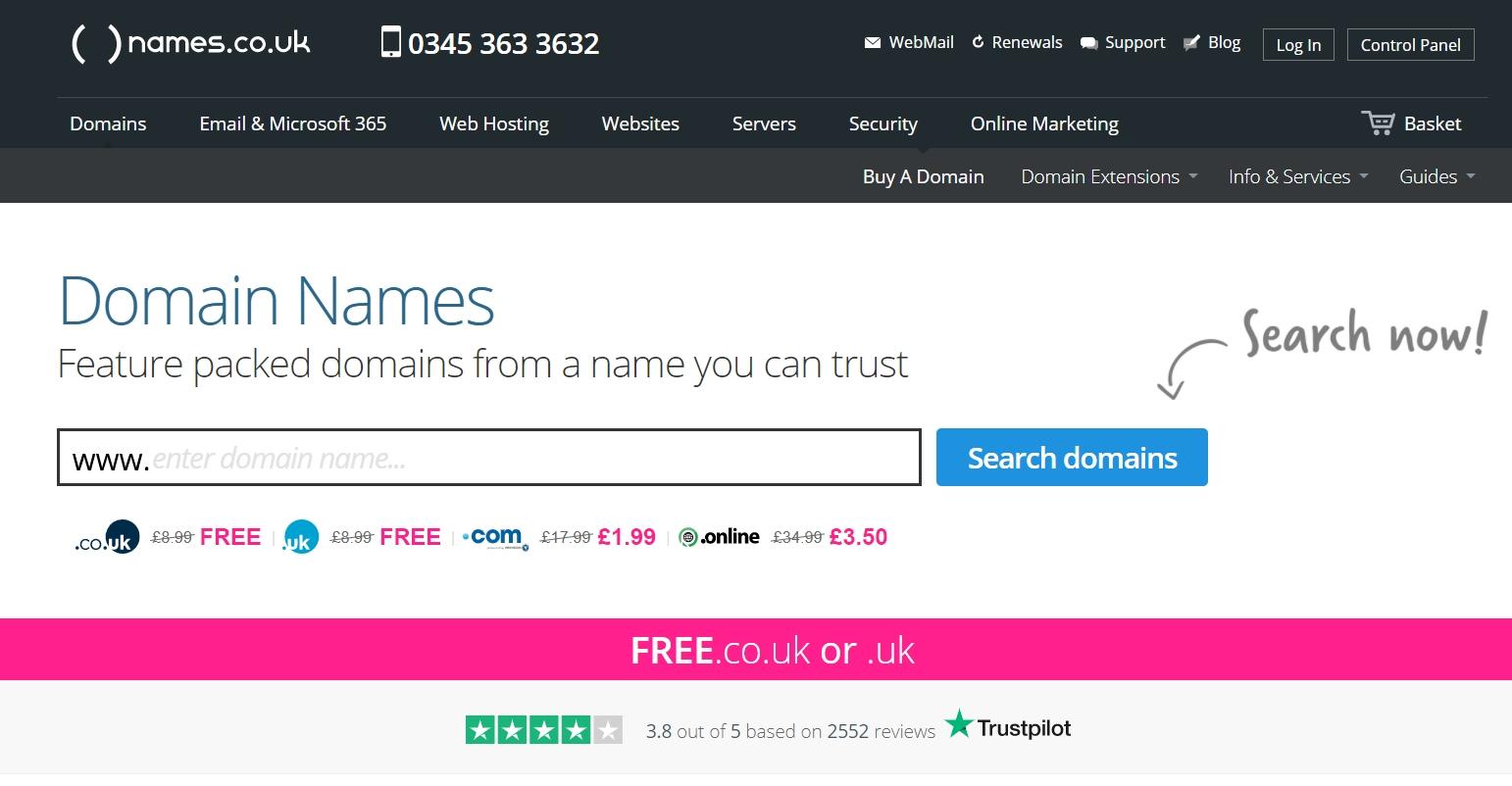 Tên miền .com chỉ còn $2,76 tại names.co.uk
