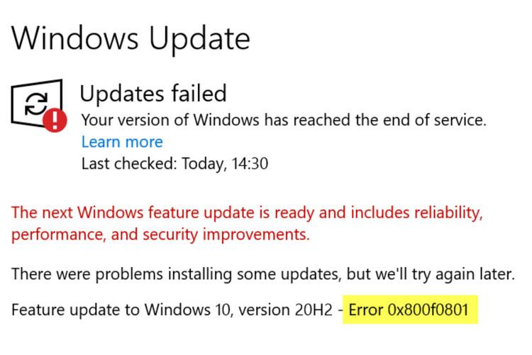 Cách khắc phục mã lỗi Windows Update 0x80070012
